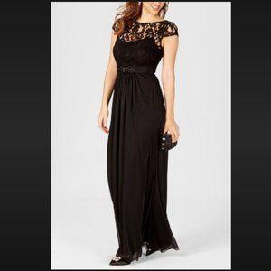 Black Cap Sleeve Lace Illusion Gown Dress